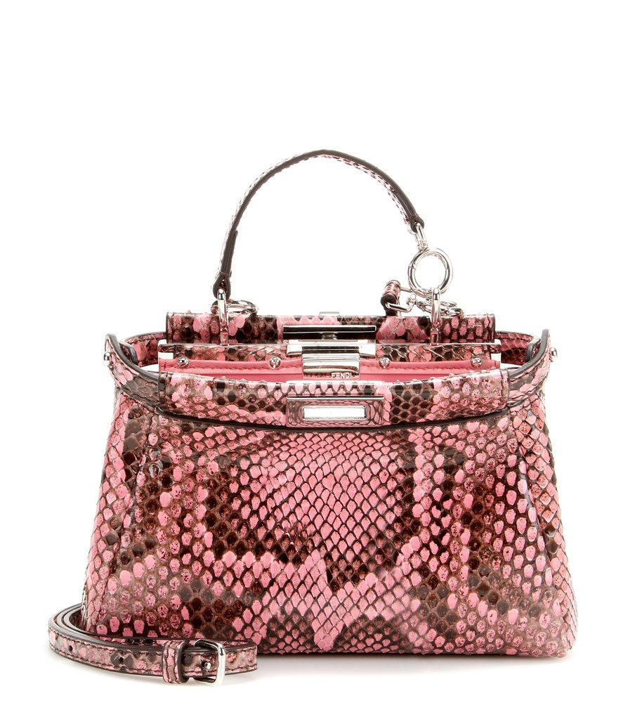 1d9ce3bed51 Fendi Micro Peekaboo Python Leather Shoulder Bag in Pink - Lyst