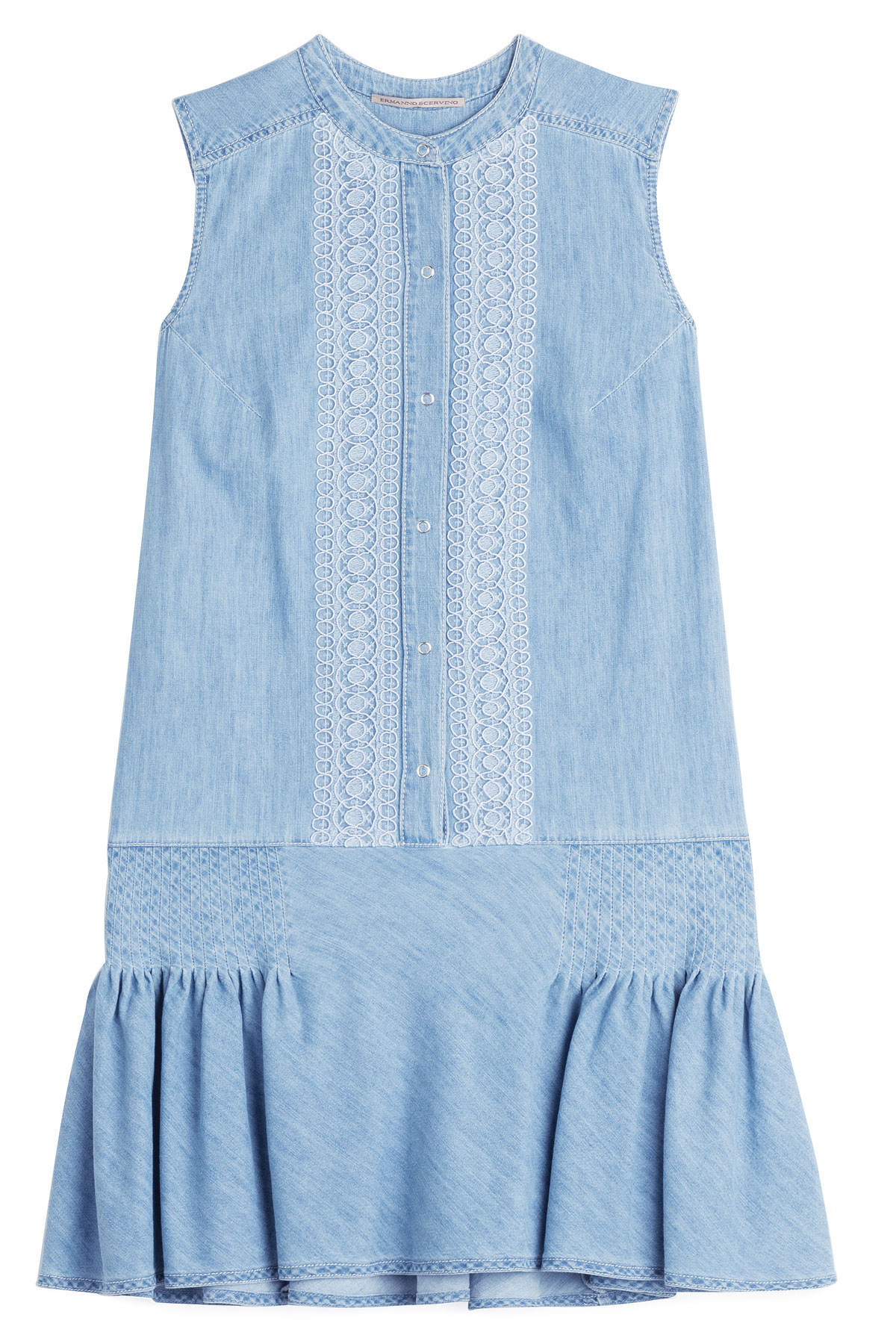 Lyst ermanno scervino embroidered denim dress in blue