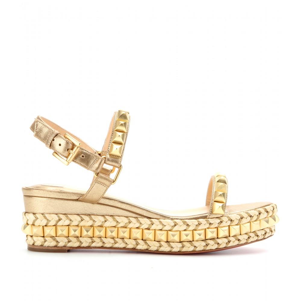 louboutin copy - christian louboutin studded espadrille platform sandals, white ...