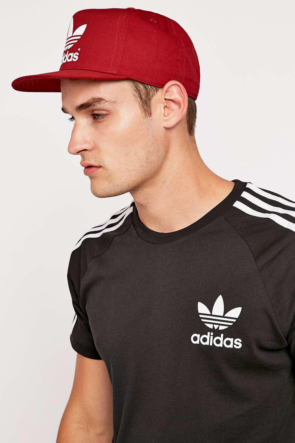 e36516cefdae2 adidas Trefoil Burgundy Snapback Cap in Red for Men - Lyst