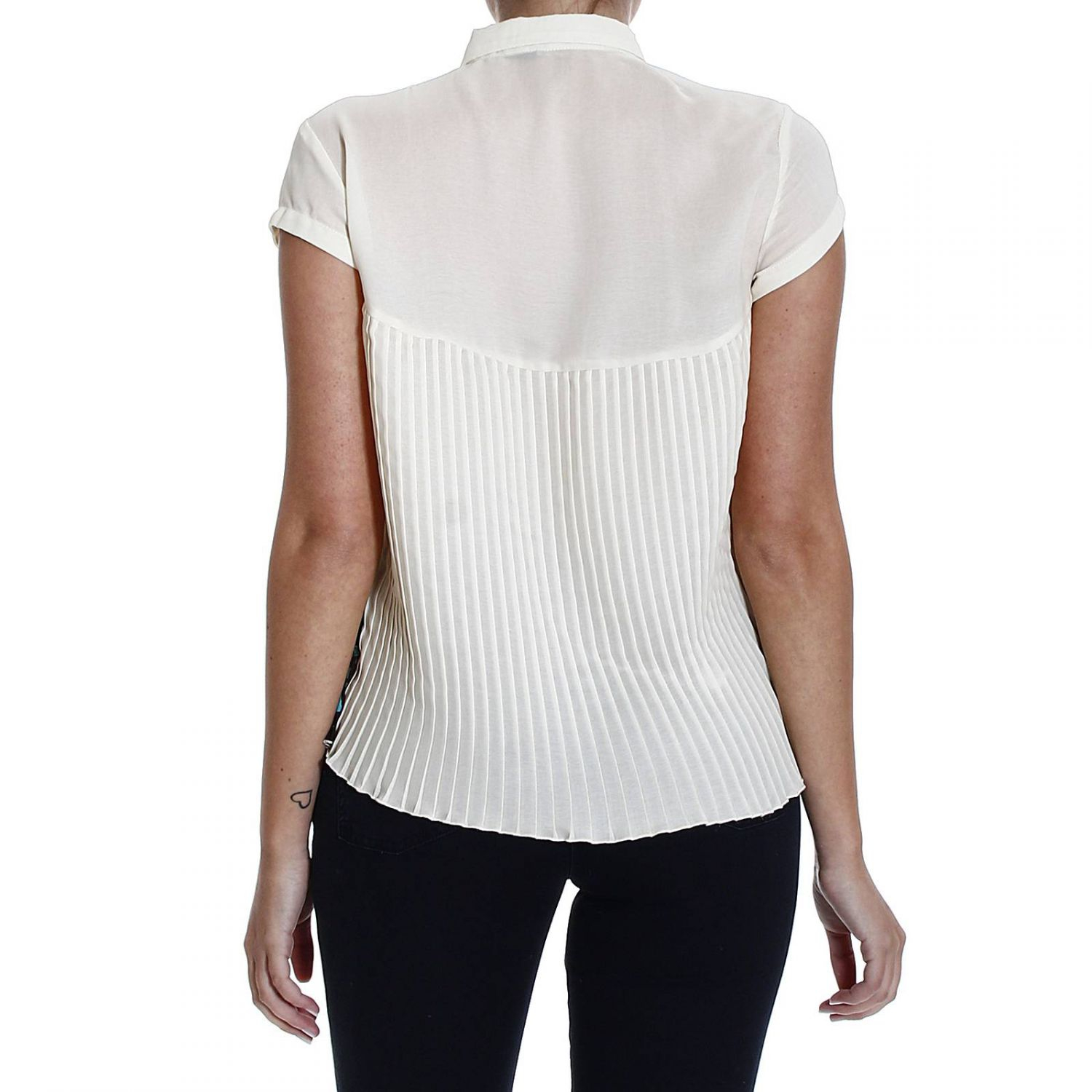 Lyst Manila Grace Plisset Half Sleeve Shirt In White