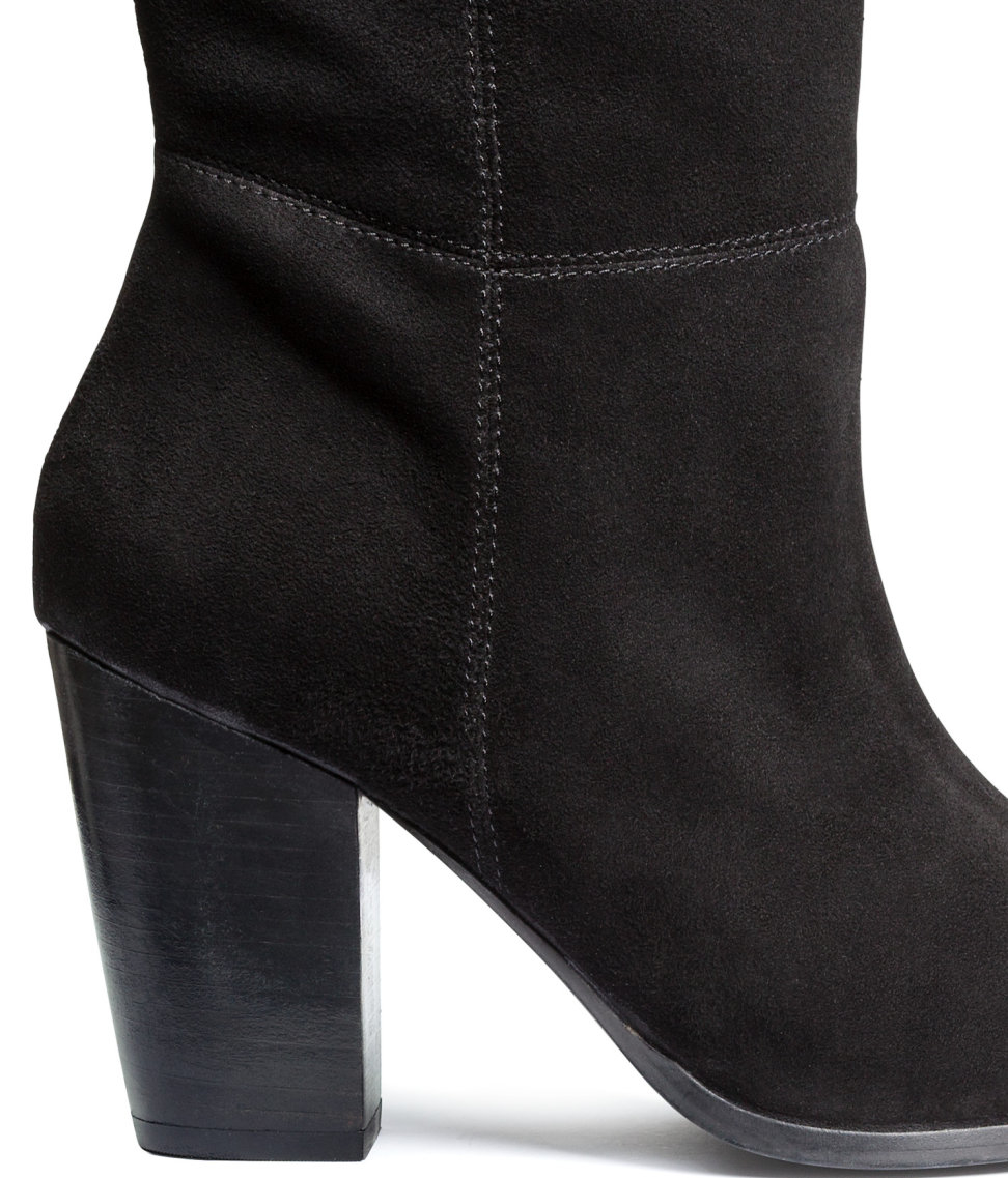 h m knee high suede boots in black lyst