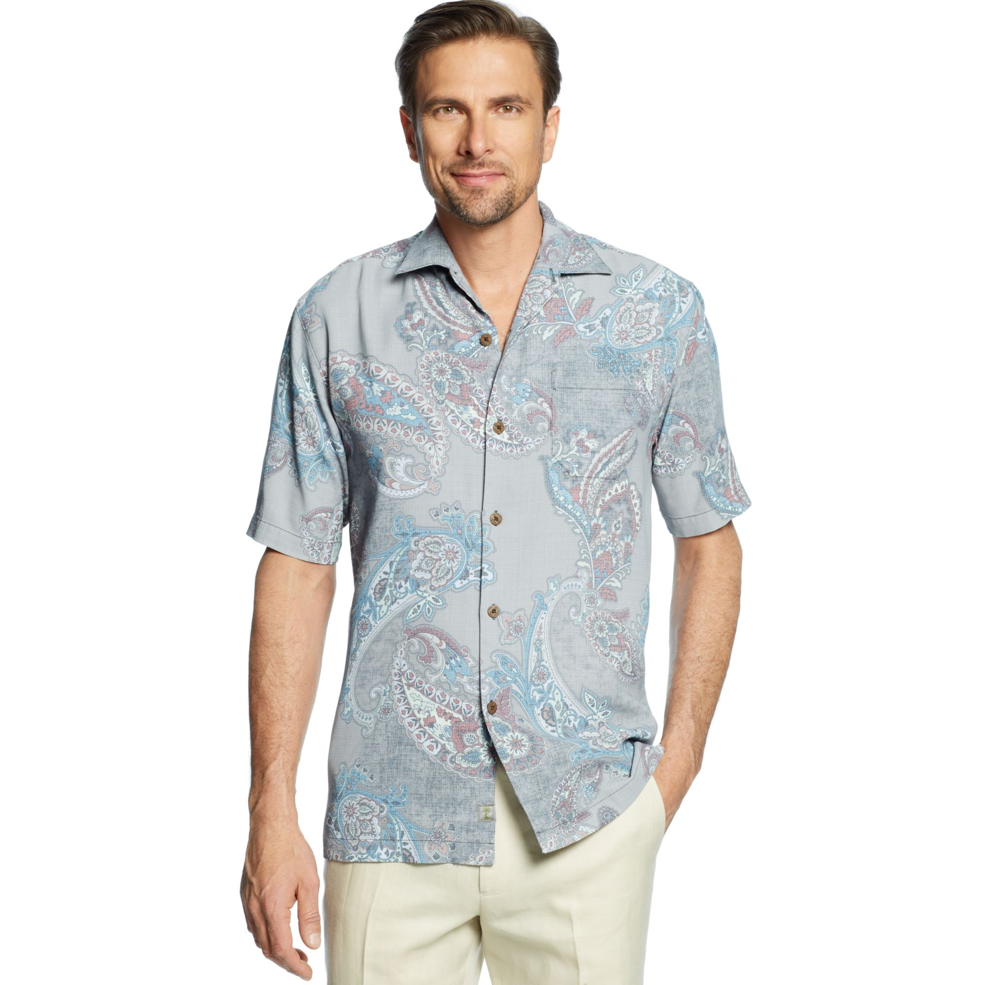 Tommy Bahama Spanish Town Silk Paisley Shirt In Multicolor