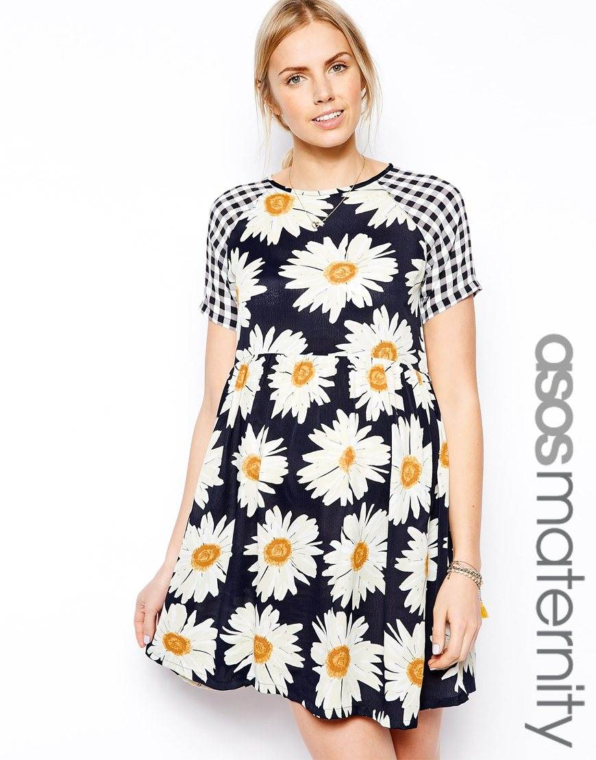 181686844e8a ASOS Skater Dress In Gingham And Daisy in Blue - Lyst