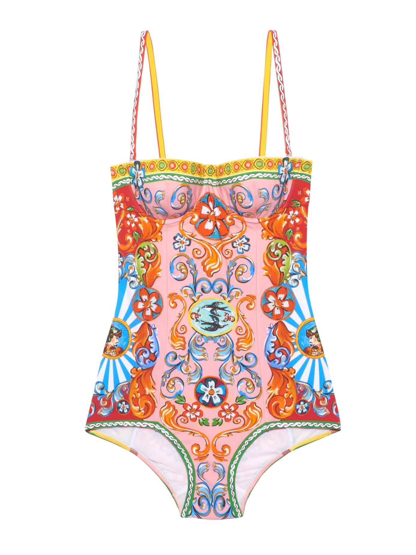 Lyst - Dolce   Gabbana Carretto-print Balconette Swimsuit a5a27e4dffe