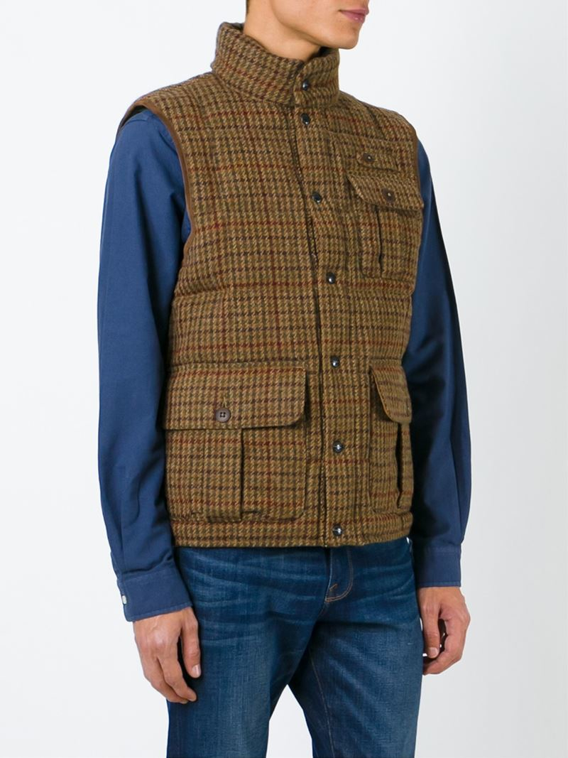 lyst polo ralph lauren checked padded gilet in brown for men. Black Bedroom Furniture Sets. Home Design Ideas