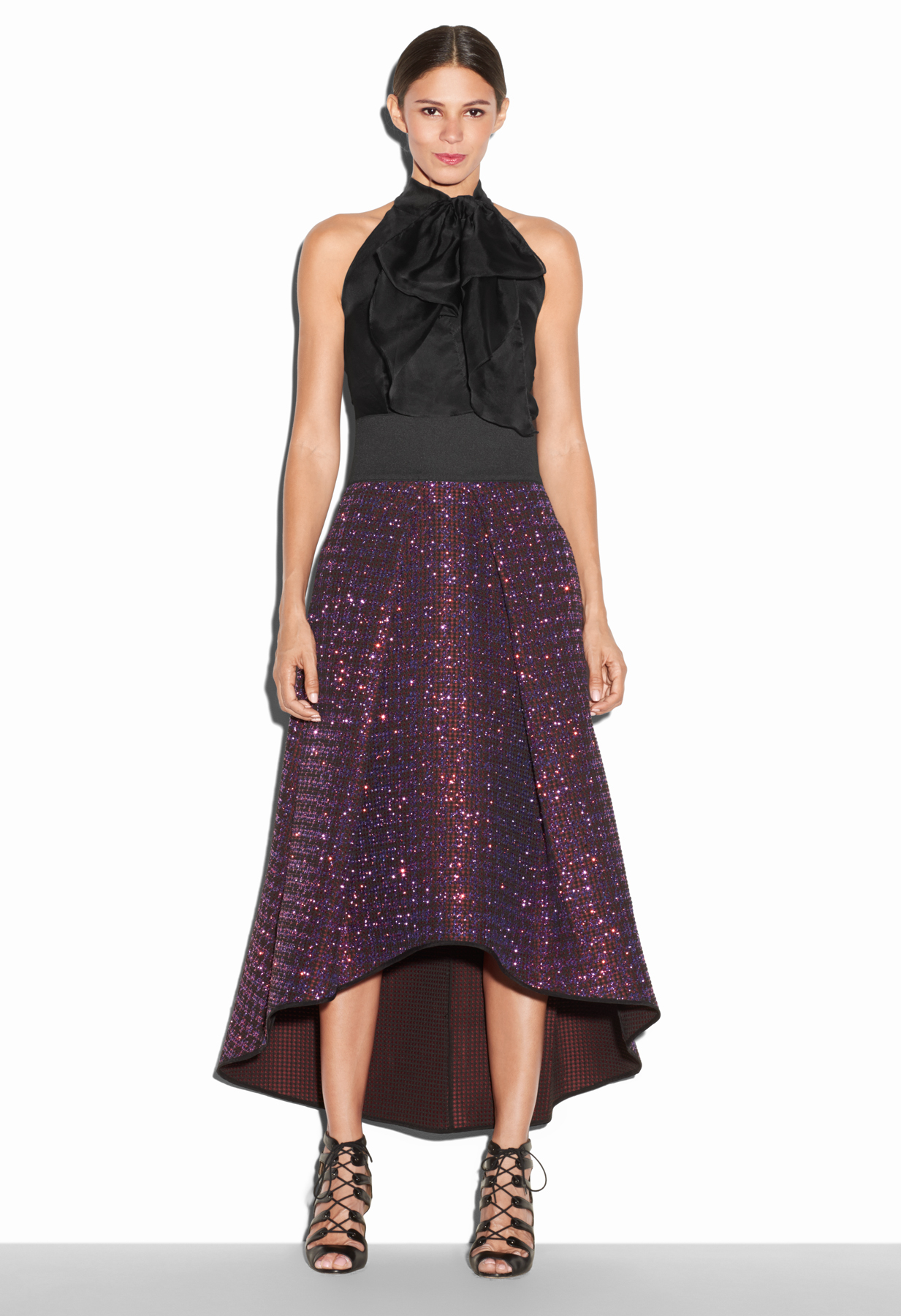 e320beef4979a7 MILLY Glitter Jacquard Tucked Ball Skirt in Purple - Lyst