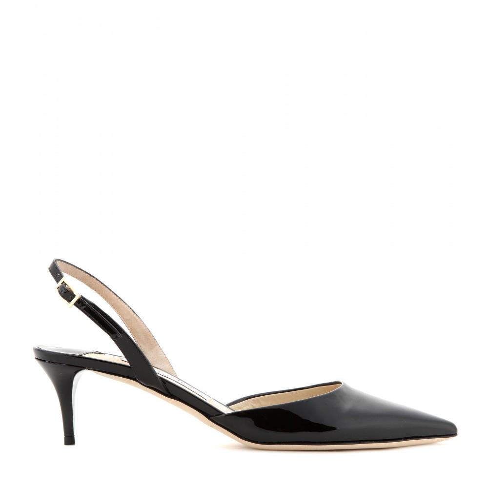 970ebe05c9b Lyst - Jimmy Choo Tide Patent-leather Kitten-heel Sling-backs in Black