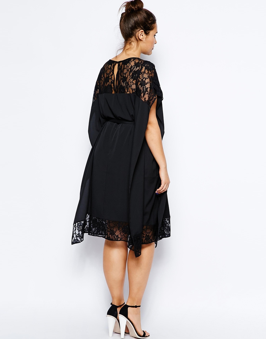 Asos Exclusive Kimono Dress With Lace In Black Lyst