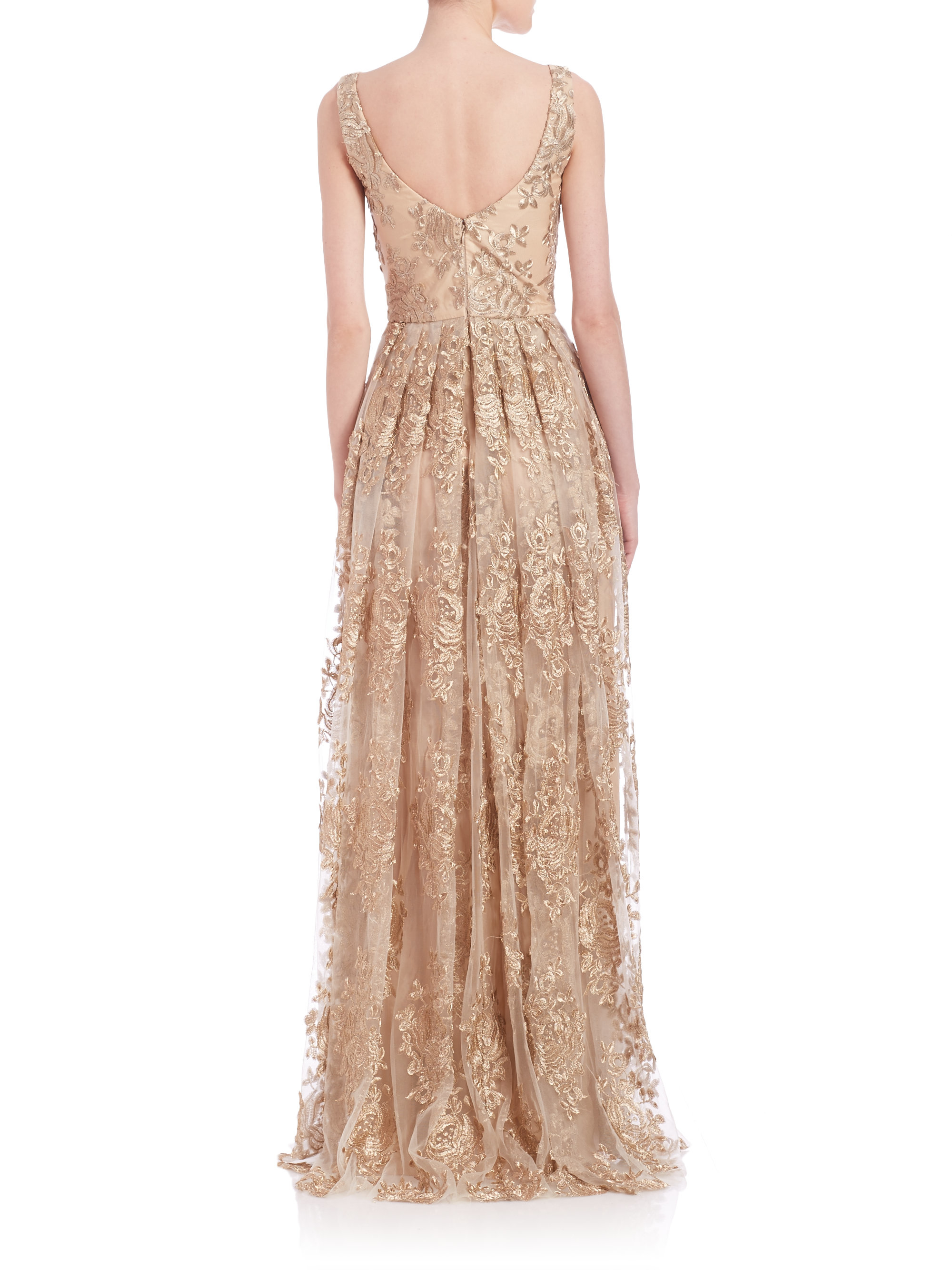 Lyst - Theia Embroidered Gown in Metallic
