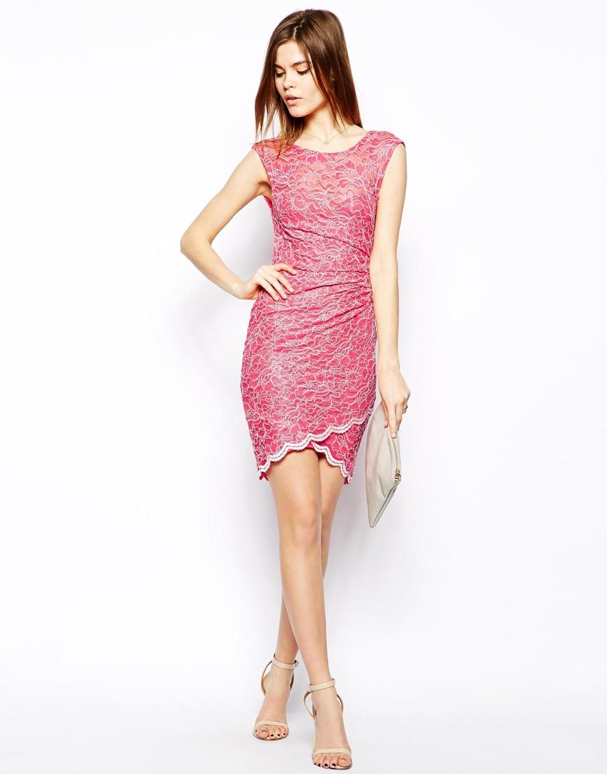 Lyst - Lipsy Lace Dress with Asymmetric Hem in Pink
