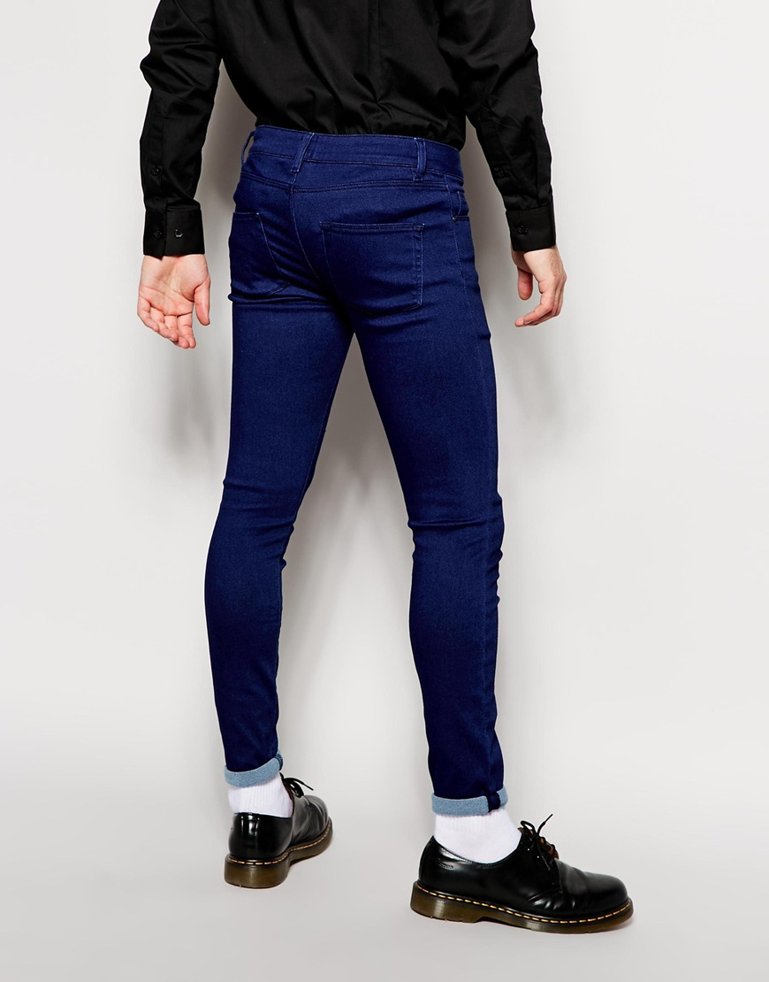 Asos Extreme Super Skinny Jeans In Knitted Fabric in Blue for Men ...