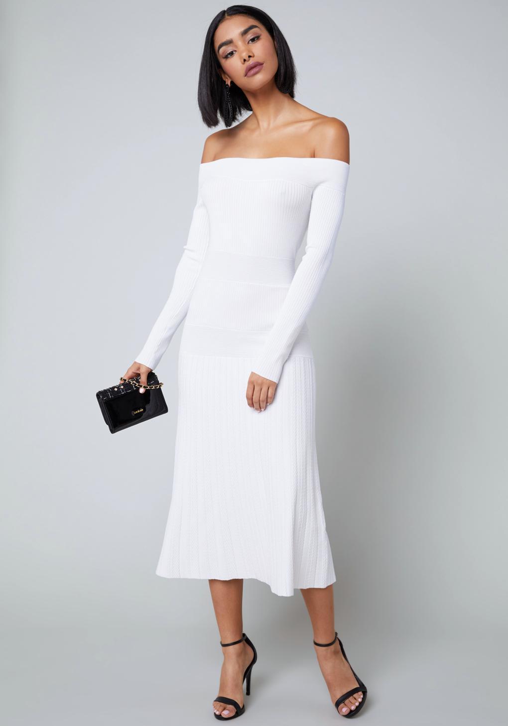1080ecb7486b Lyst - Bebe Tatiana Sweater Dress in White