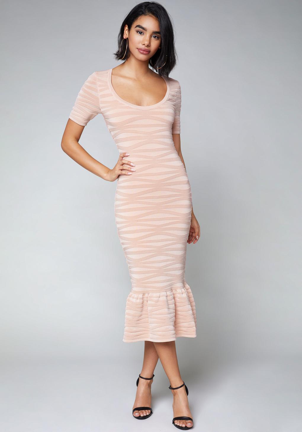 lyst bebe whitney midi dress in pink. Black Bedroom Furniture Sets. Home Design Ideas