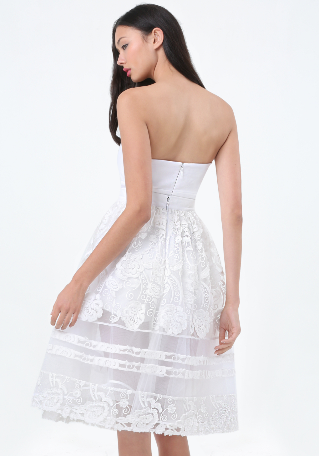 6eb9f7d505 Lyst - Bebe Petite Embroidered Dress in White