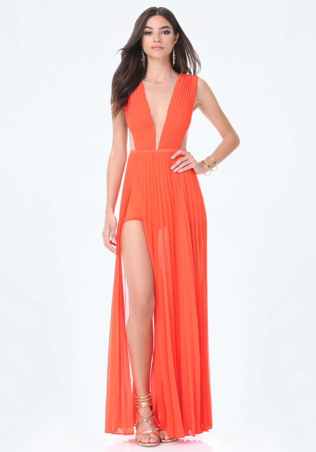 Lyst - Bebe Solid Double Slit Gown