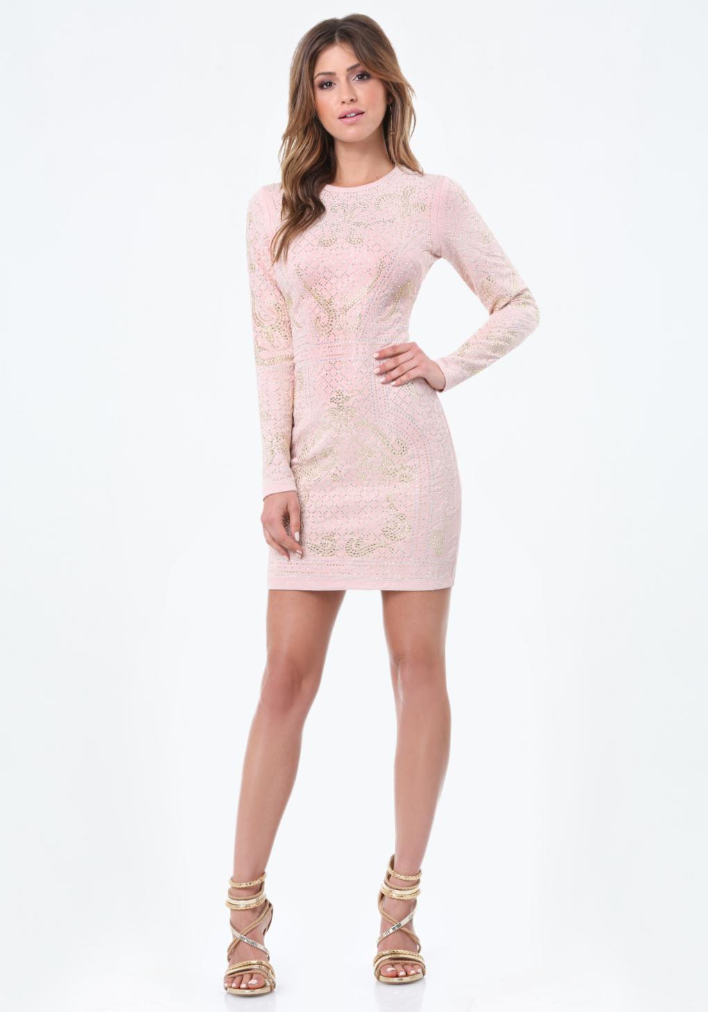 Bebe studded jacquard dress in pink lyst for Bebe dresses wedding guest