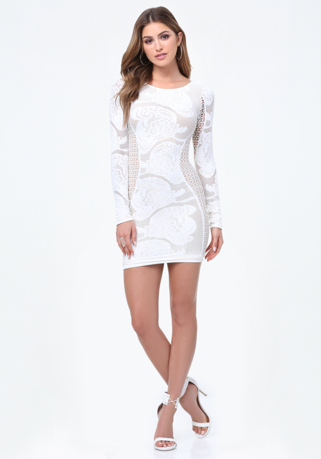 bebe janet net bodycon dress in white lyst