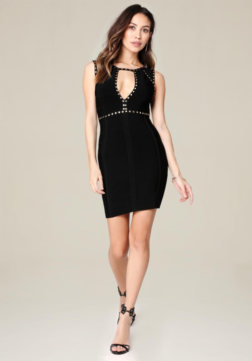 Lyst Bebe Caleigh Studded Dress In Black