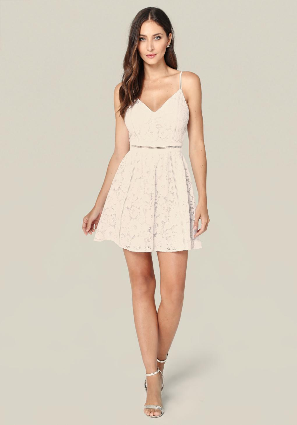 Lyst Bebe Lace Fit Amp Flare Dress In White