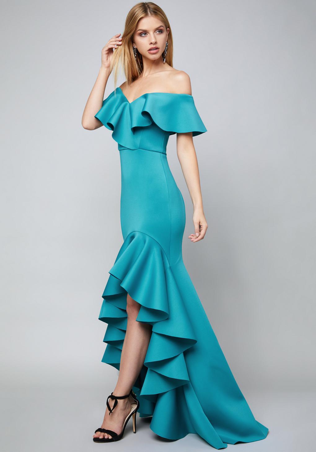 Lyst - Bebe Mae Ruffled Hi-lo Gown in Blue