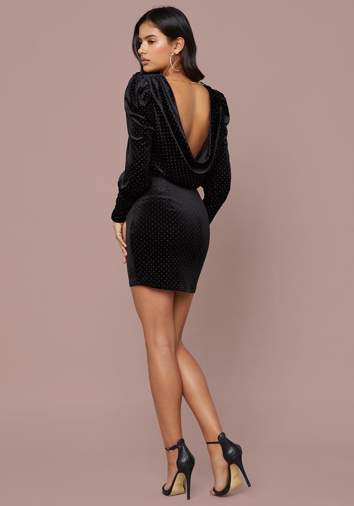 Bebe - Black Studded Velvet Cowl Dress - Lyst. View fullscreen d6a0708bb