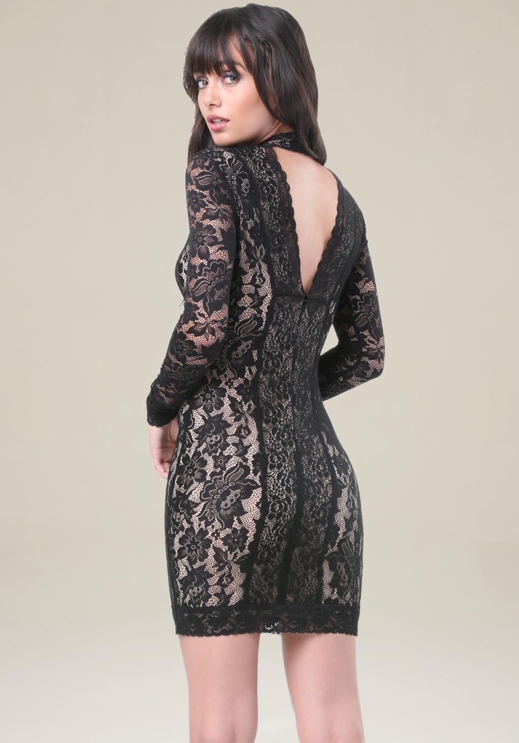 92427b8ea9 Lyst - Bebe Lace Panel Mock Neck Dress in Black