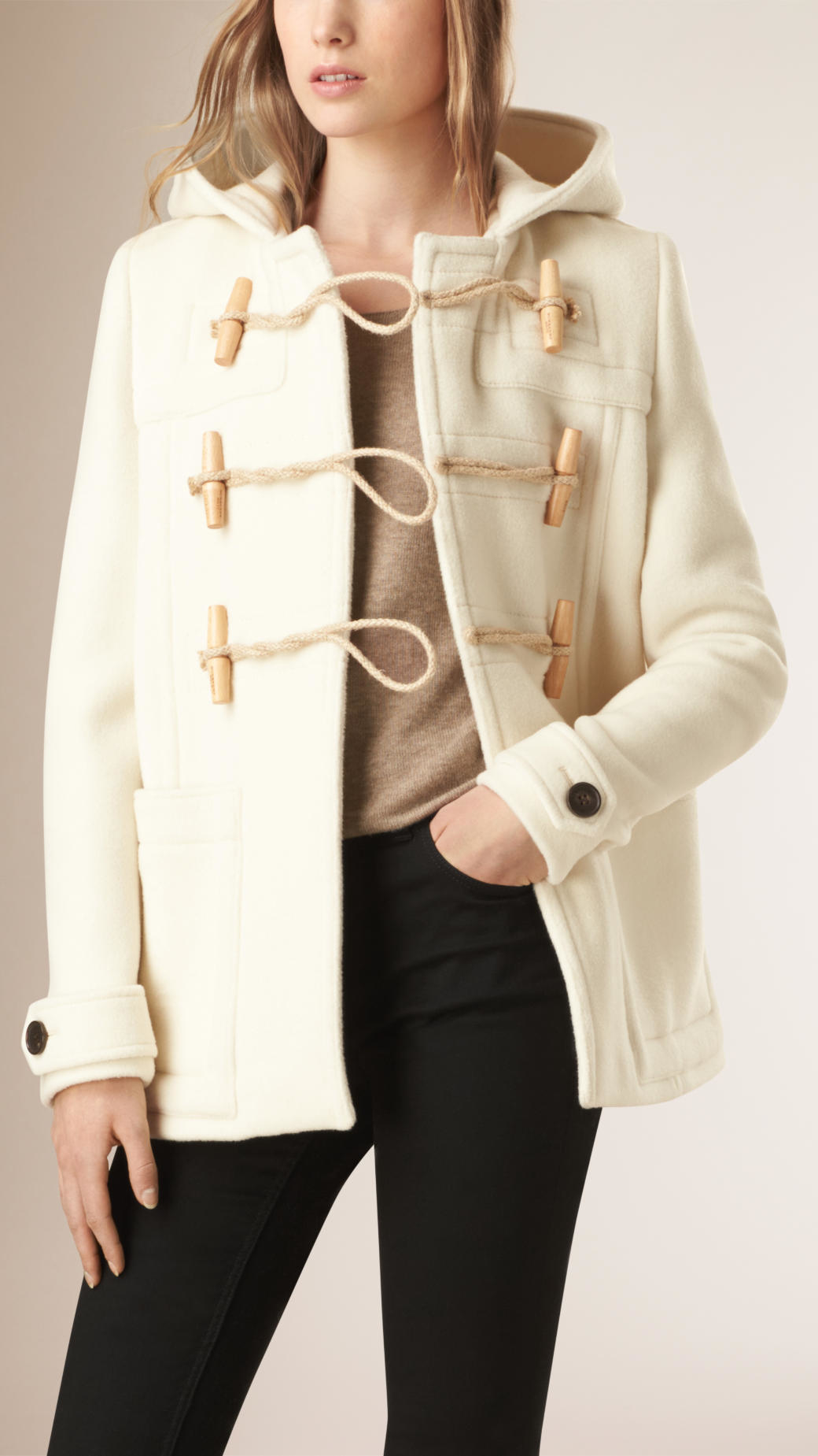 Burberry Hooded Wool Blend Duffle Coat in Natural | Lyst
