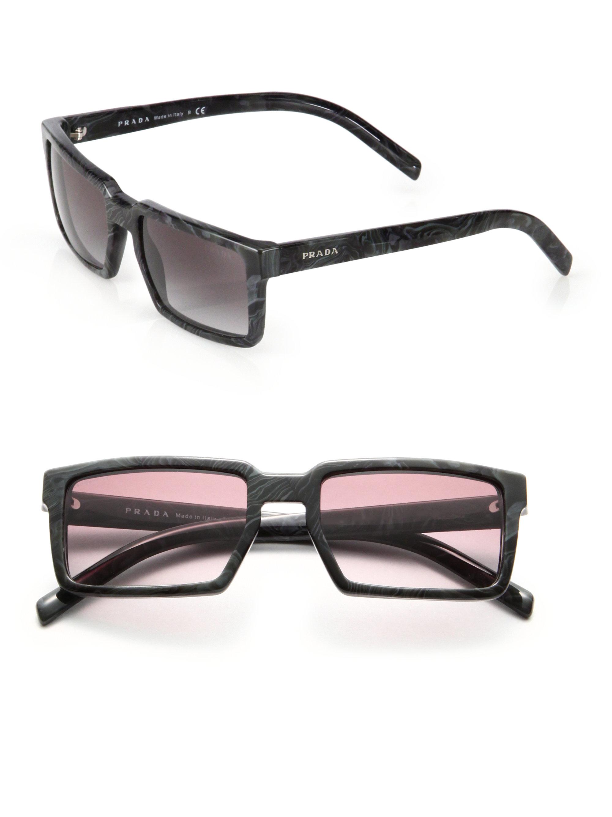 b276235dea1 ... reduced lyst prada 54mm rectangle acetate sunglasses in black for men  39123 7017f