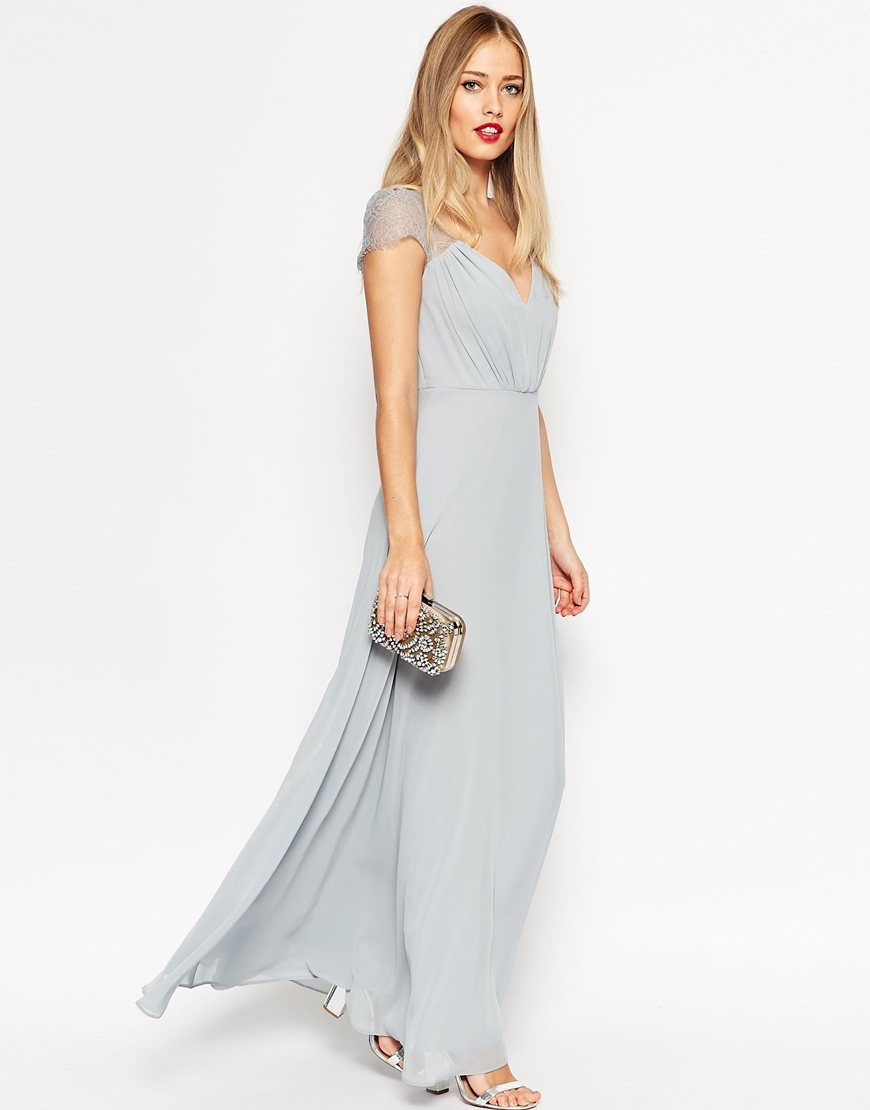 Asos Kate Lace Maxi Dress in Gray | Lyst