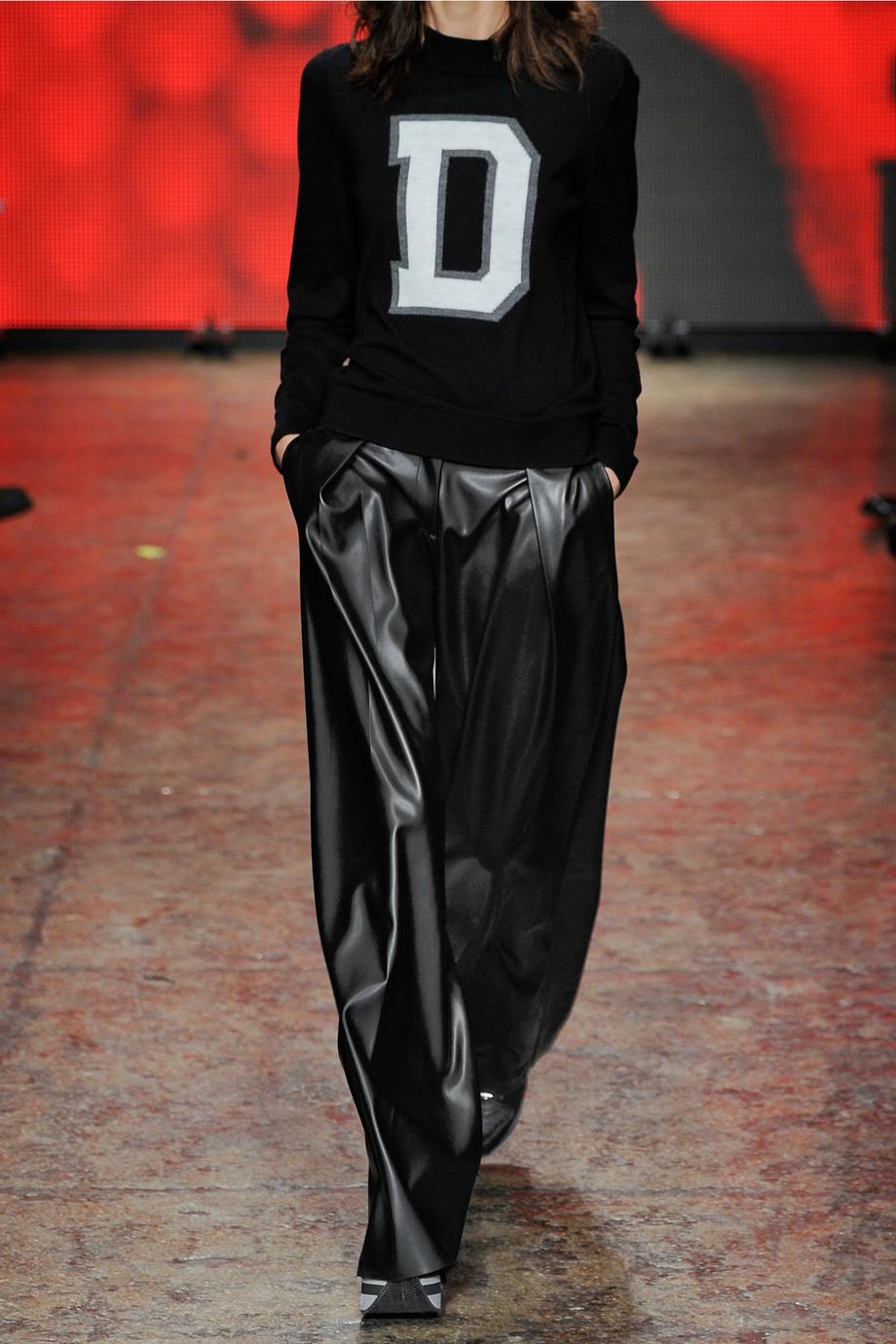 Dkny Faux Leather Wide-Leg Pants in Black | Lyst