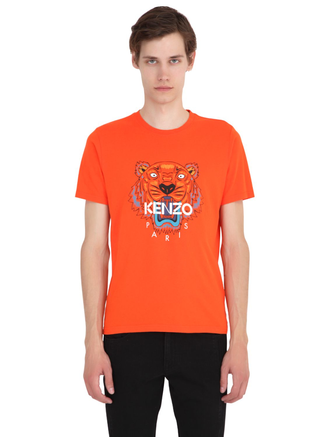 320bd448e KENZO Tiger Printed Cotton Jersey T-shirt in Orange - Lyst