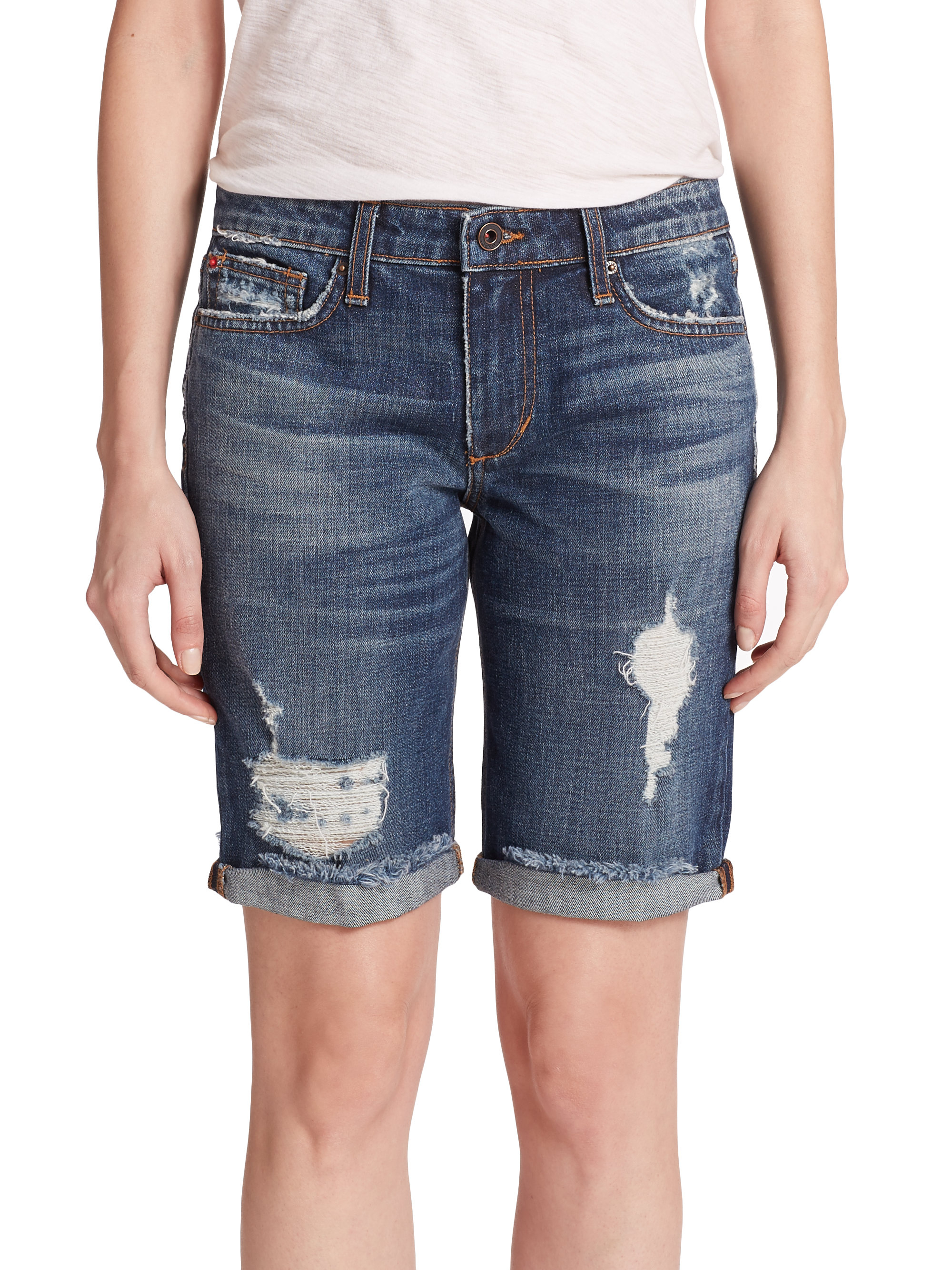 Joe's jeans Meeka Distressed Denim Bermuda Shorts in Blue | Lyst