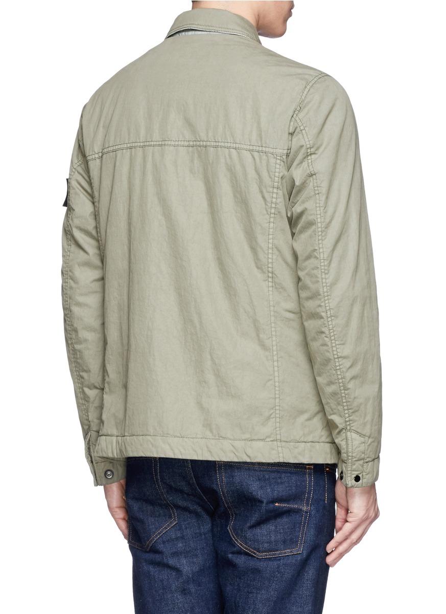 Stone island tela 50 fili watro utility jacket in natural for Stone island bedding