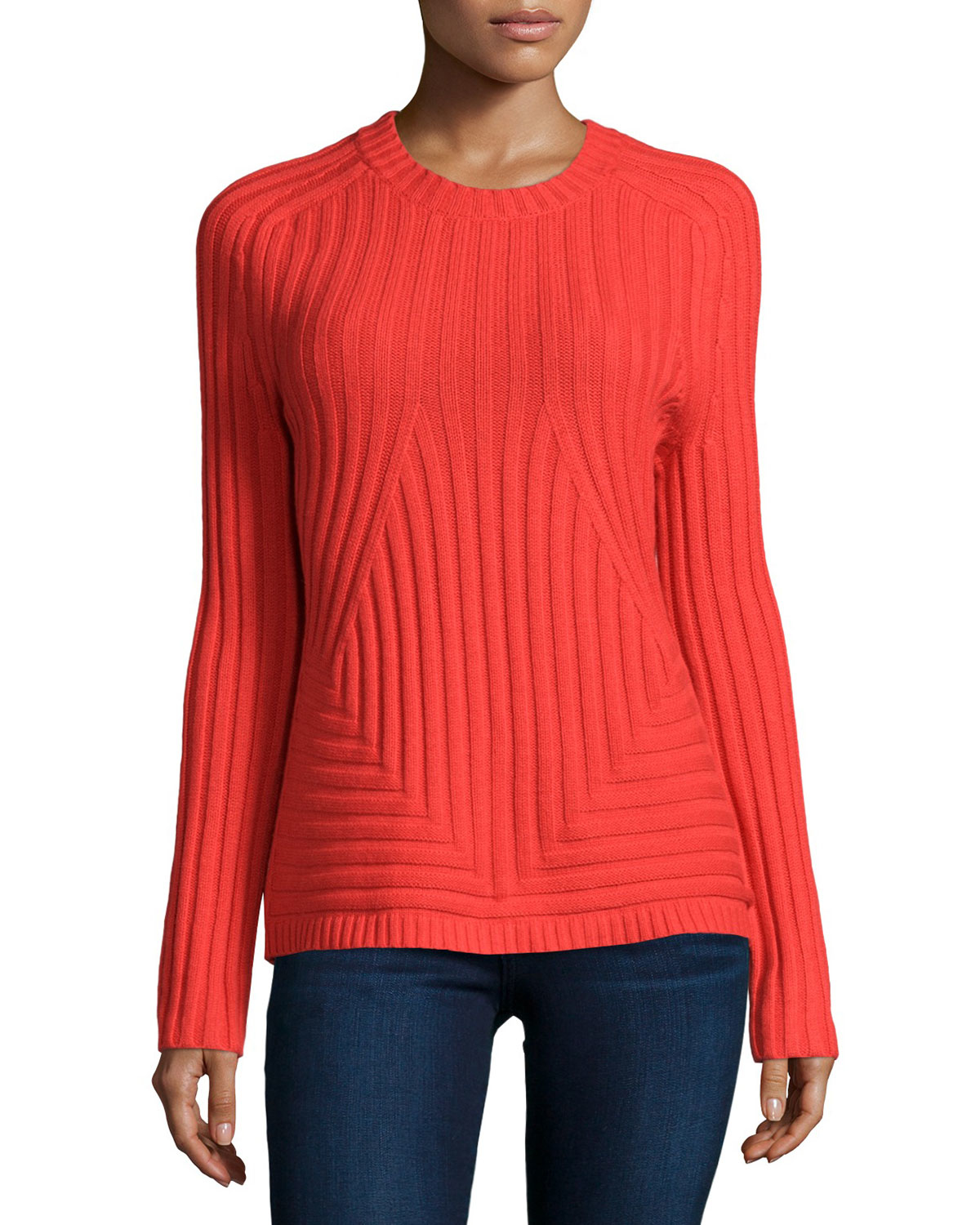 Halston Long-sleeve Ribbed Sweater in Red | Lyst