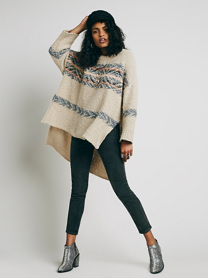 Free people Alpaca Fairisle Tunic Sweater in Natural | Lyst