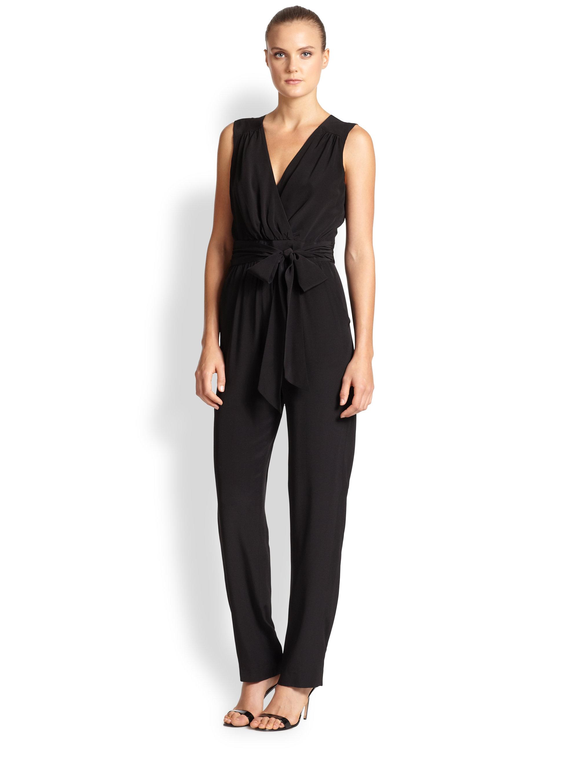 Shoshanna Silk Jumpsuit in Black | Lyst
