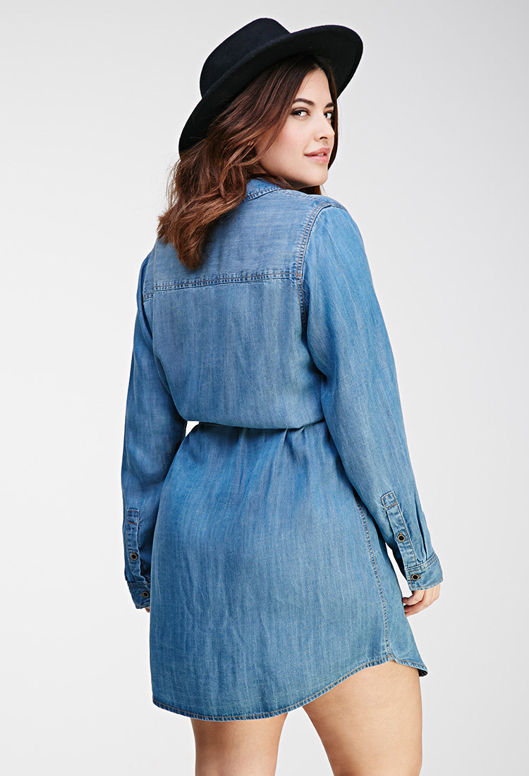 620c6783db9 Lyst - Forever 21 Plus Size Button-down Chambray Dress in Blue