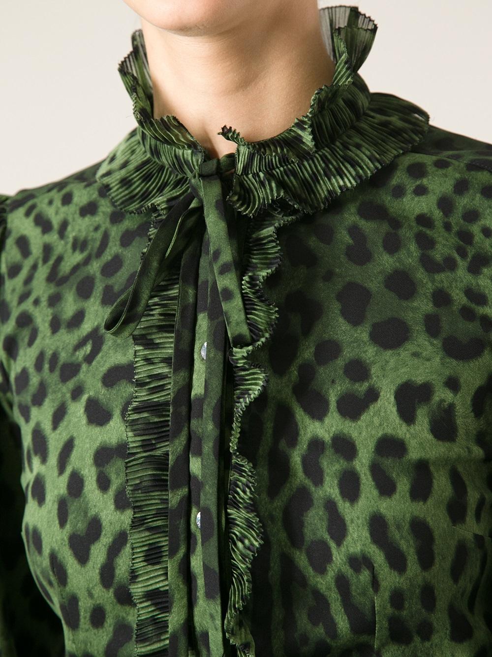 Dolce Amp Gabbana Leopard Print Blouse In Green Lyst