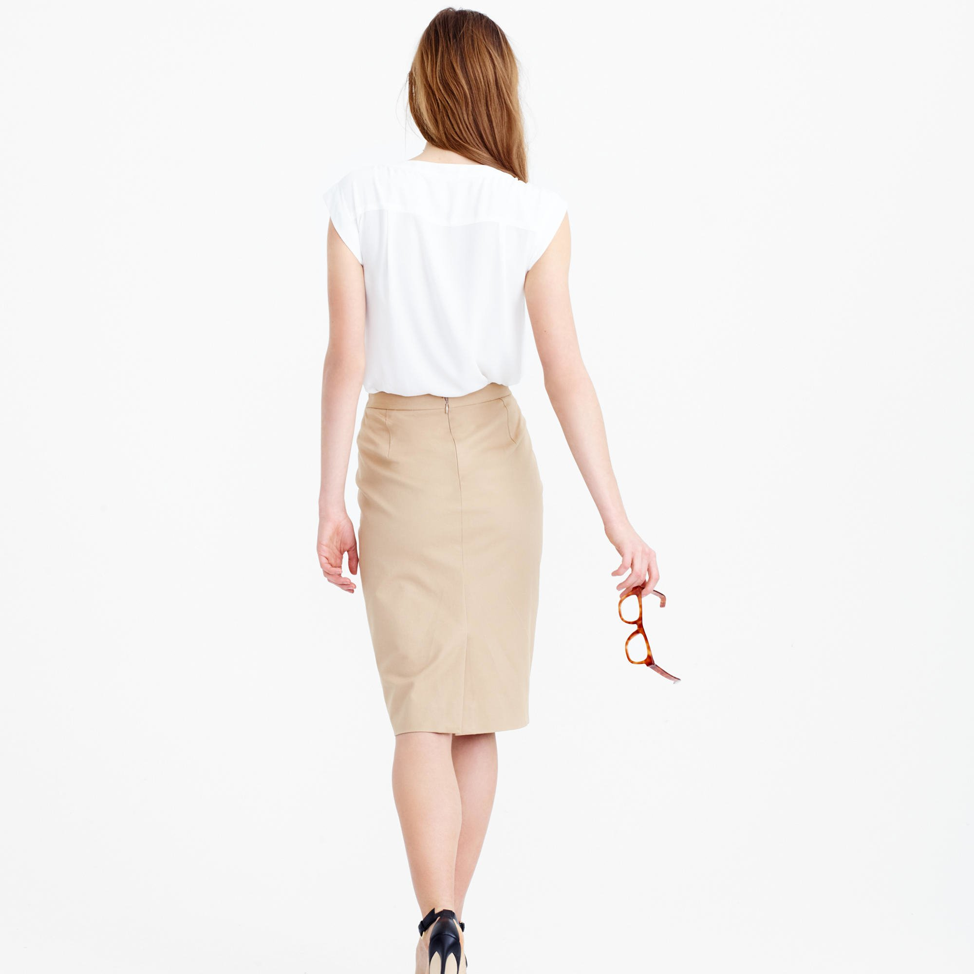 j crew pencil skirt in stretch cotton in lyst