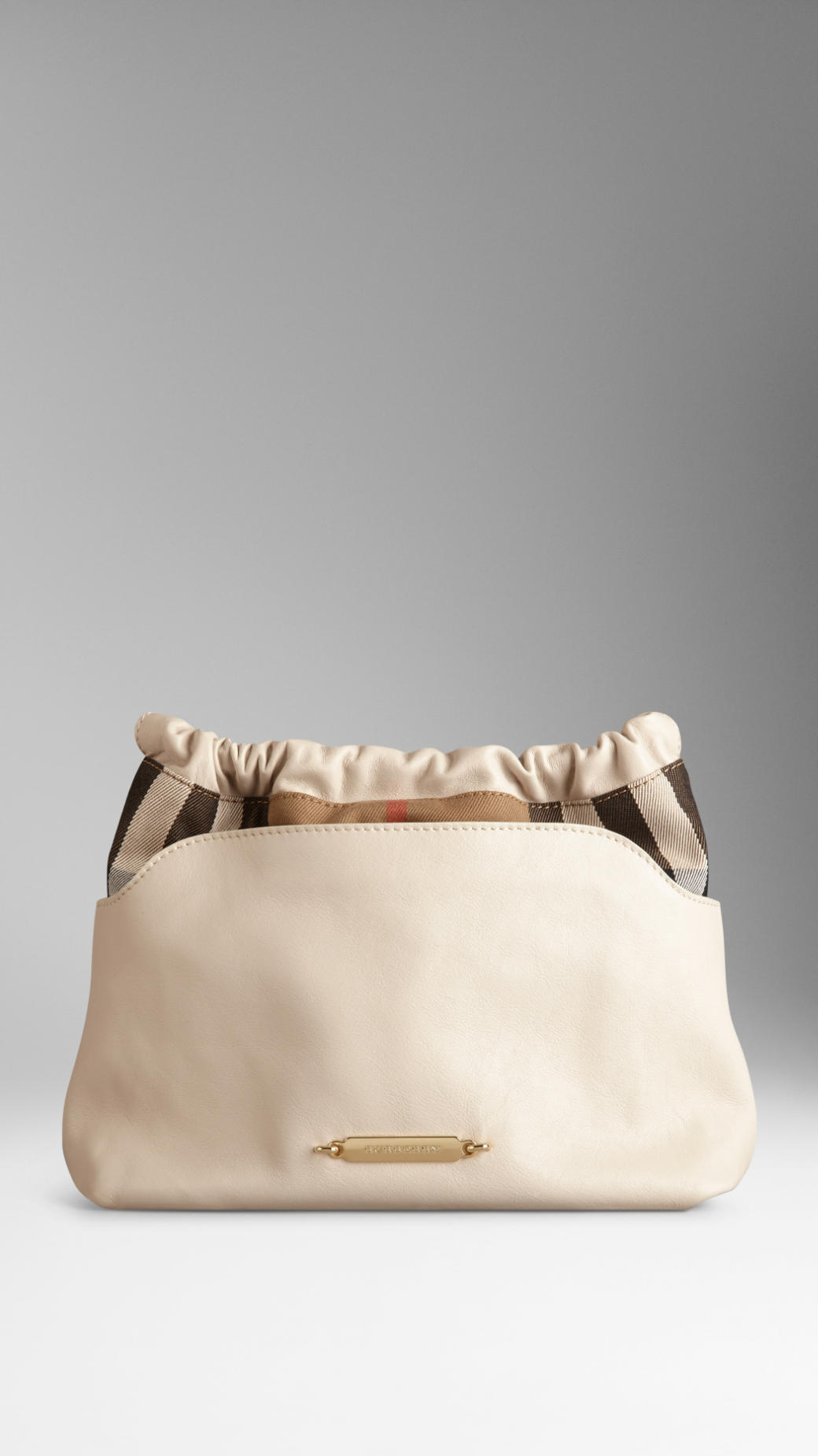 fc8d7f08b6e3 Lyst - Burberry The Little Crush in House Check and Leather in Natural