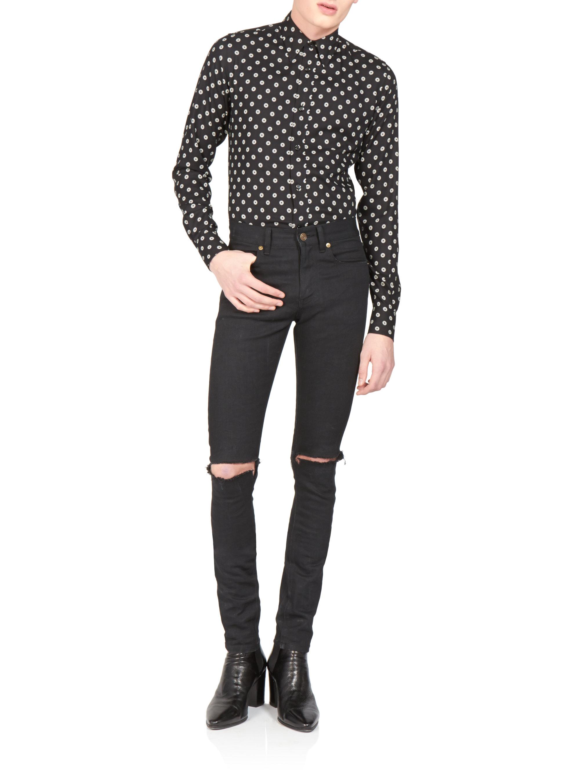 663ec3aabfc Saint Laurent Skinny Distressed Jeans in Black for Men - Lyst