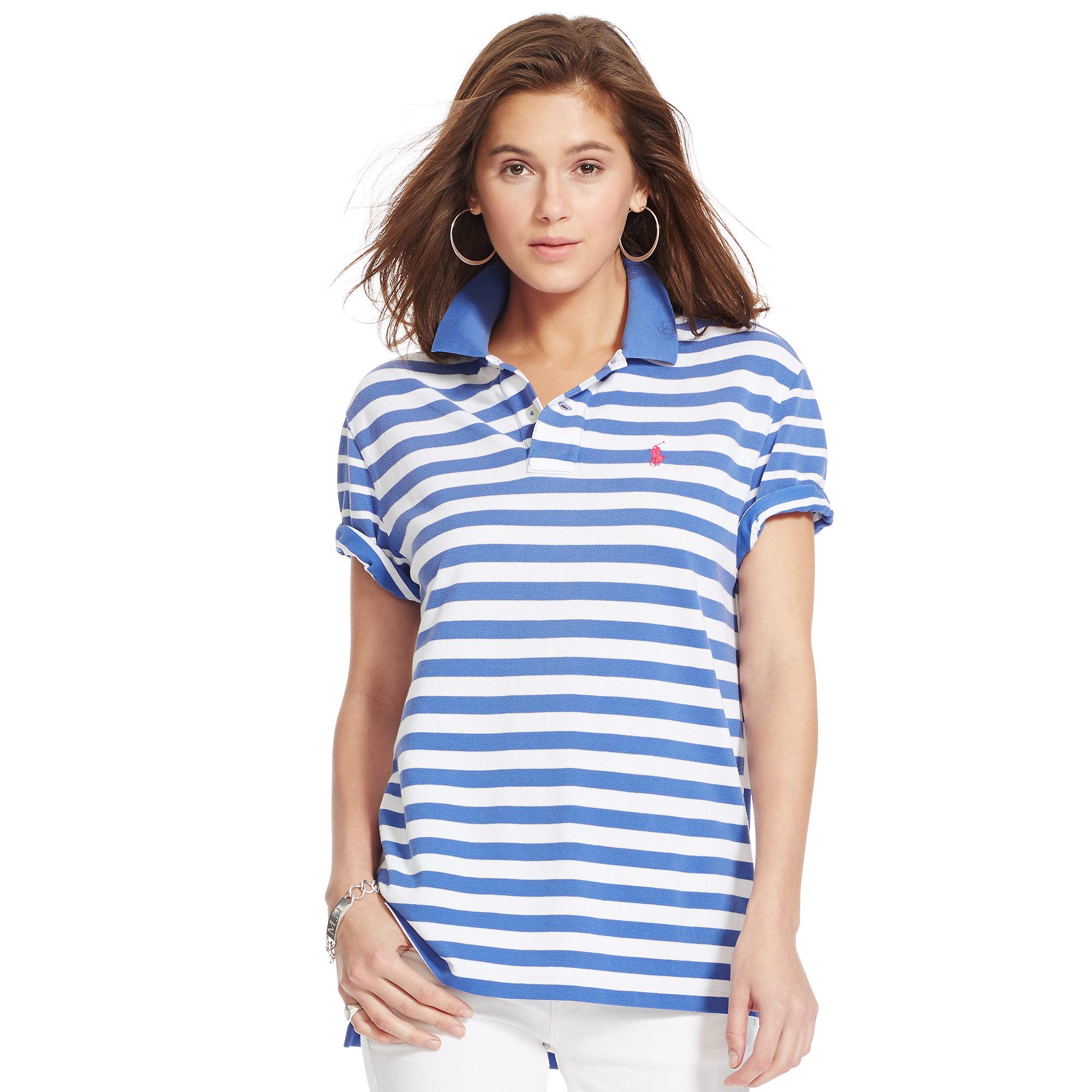 0abebca5d42c Lyst - Polo Ralph Lauren Contrast-stripe Boyfriend Polo in Blue