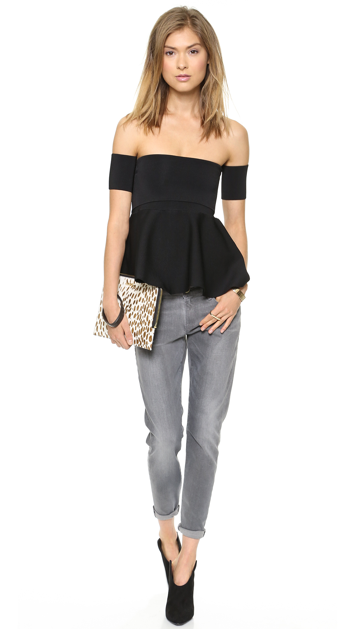 Issa Esther Shoulderless Top Black In Black