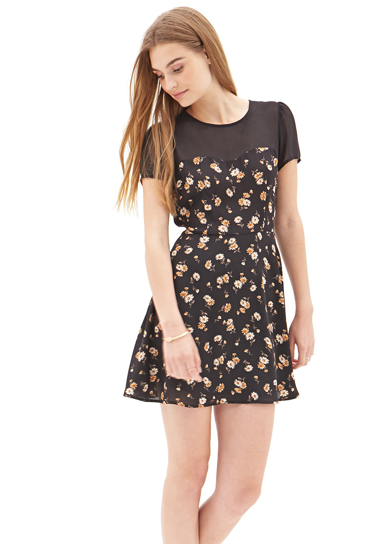 lyst forever 21 chiffon amp floral dress in black