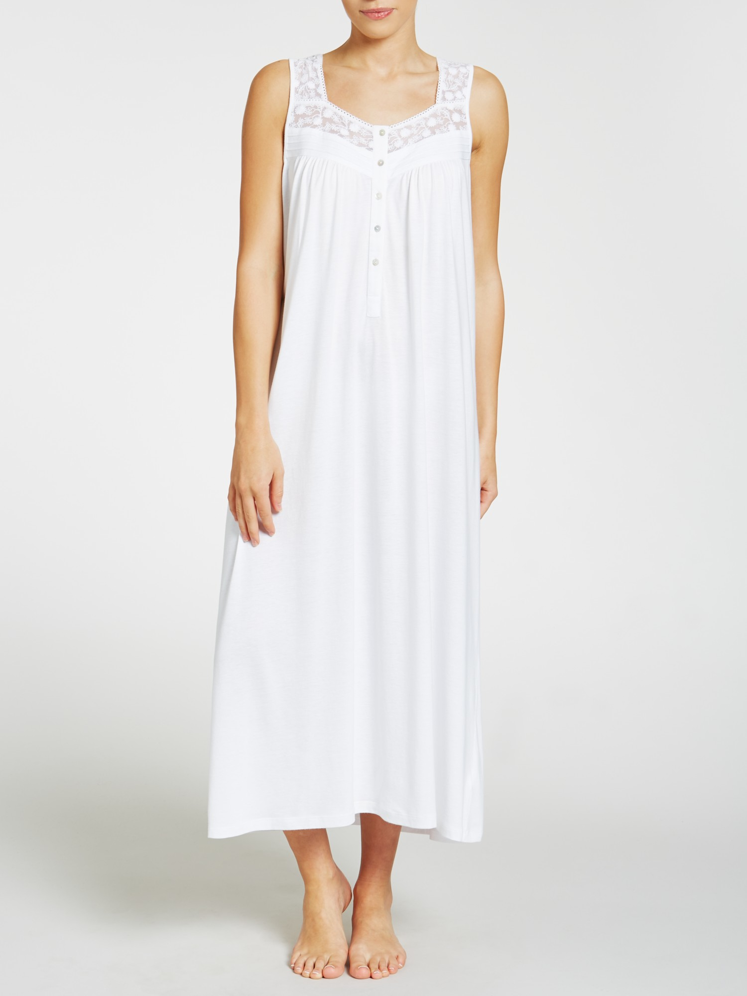 18be4e9978 John Lewis Classic Lace Trim Jersey Nightdress in White - Lyst