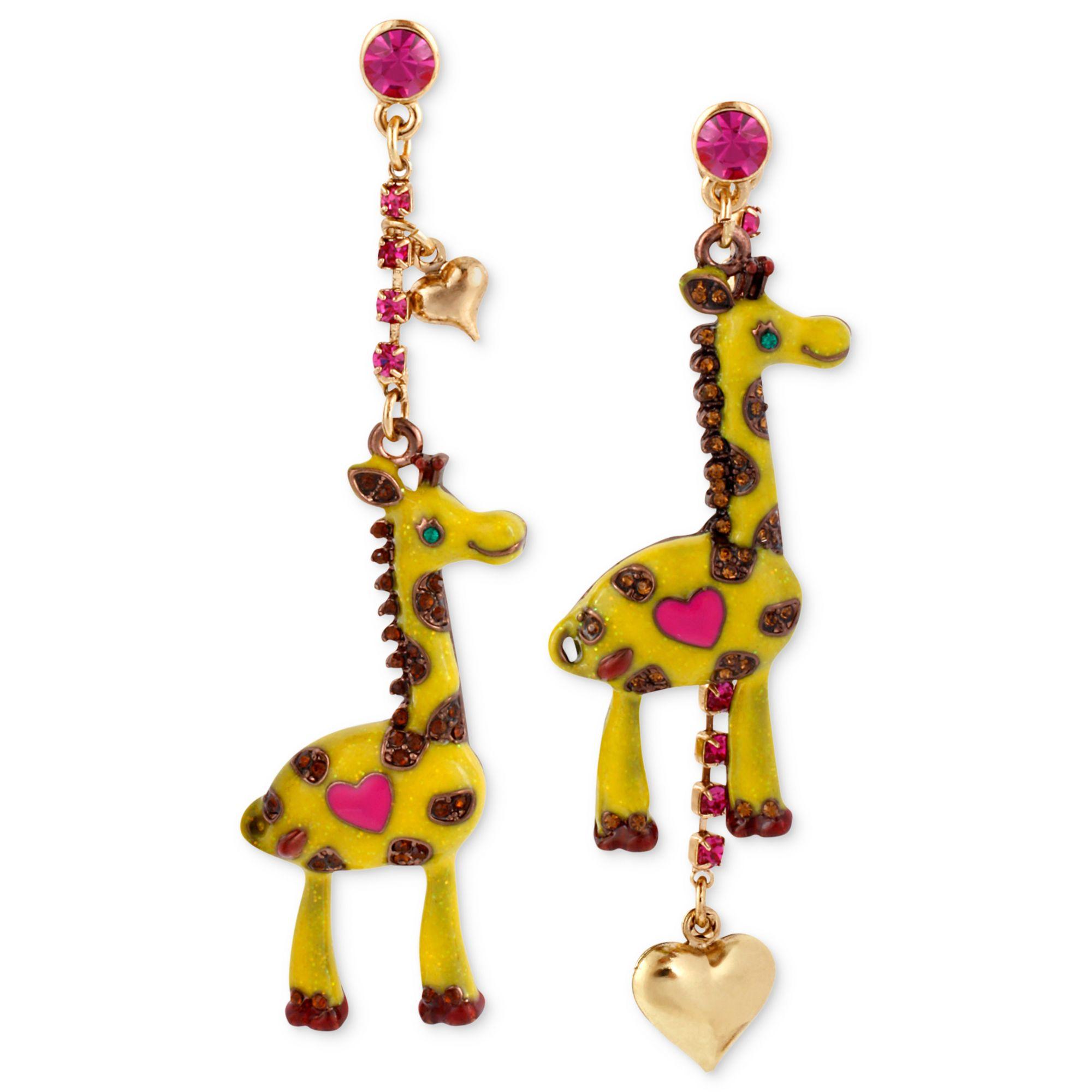 Betsey Johnson Antique Goldtone Giraffe Mismatch Linear Earrings