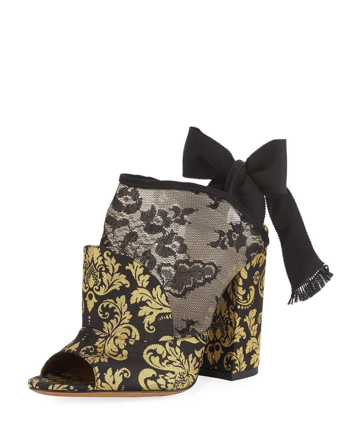 Tabitha Simmons Regina Damask Open-Toe Tie-Back Bootie l3DE4nm