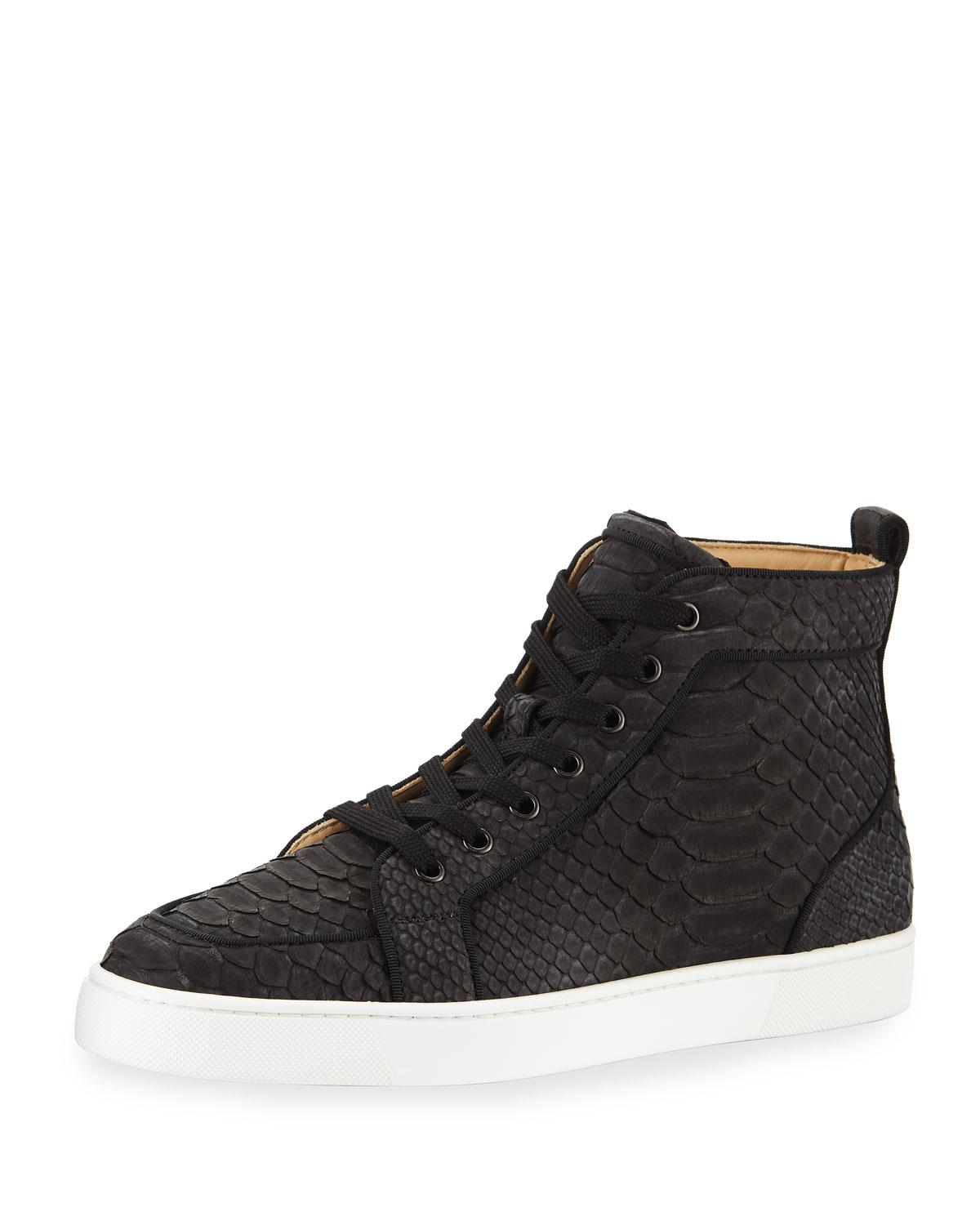 10be0a00c9db Christian Louboutin Men's Rantus Python High-top Sneakers in Black ...
