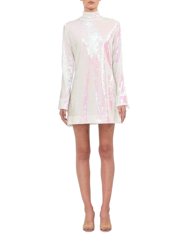 59c48e6717 Halpern Sequined Long-sleeve Turtleneck Dress in White - Lyst